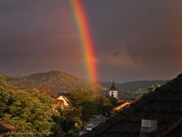 Rainbow in our village by AutumnScarlettRain