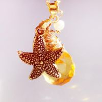 Honey Yellow Briolette Crystal Starfish Necklace by crystaland