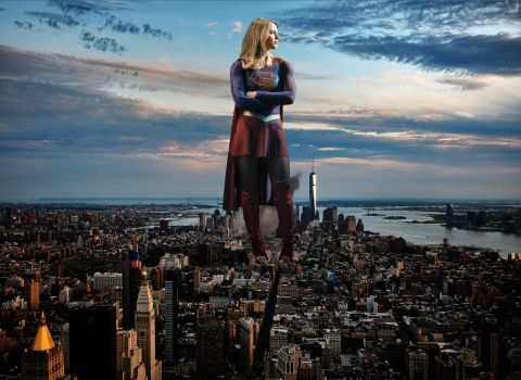 Melissa Benoist - Supergirl towering over NYC by Natkatsz
