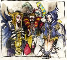 Emperor, Kefka and Kuja by Daswhox