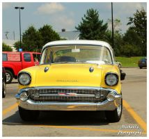 A Yellow and White 1957 Chevy by TheMan268