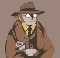 berguv and a ferret by SulphurSpoon