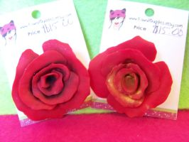 Red Rose Brooches by kawaiibuddies