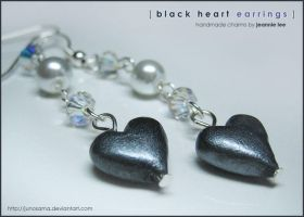 Jewelry: Black Heart Earrings by junosama