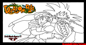 Goku and Chi-Chi .:lineart 96:. by Evil-Black-Sparx-77