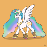 Celestia in Rollerblades by TheXIIILightning