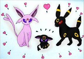 Espeon, Umbreon, And .... by Cresenta-Lark