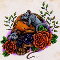 skull and rats by MattieMacabre