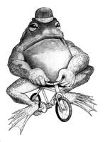 bullfrog on a bike_drawing by Coffeehouseartist