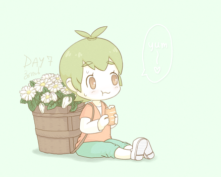 (Day 7) Girl and Flowers. by bomber9134