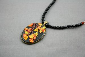 Autumn Polymer Clay Leaf Necklace by ArtfulParadox