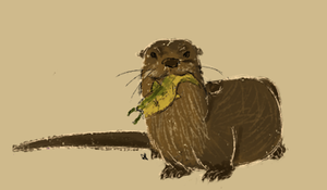 River otter with fish by Alisha-town