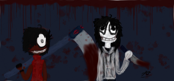 Jeff The Killer and InsyErin by ArtsyEinstine