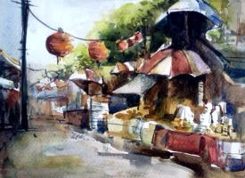 Watercolor - Chinatown by Zeon1309