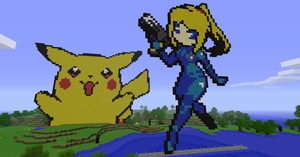 Minecraft - Samus and Pikachu by luk01