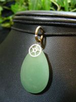 aventurine drop with gear by BacktoEarthCreations