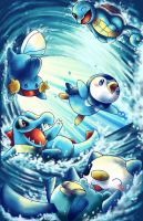 Pokemon water starters by michellescribbles