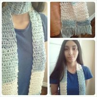Icy Blue and White Crocheted Scarf by fakechowder