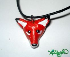 Red fox necklace by Xiakeyra