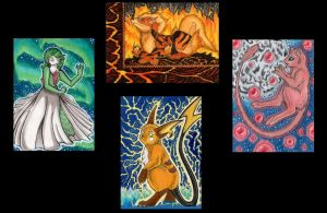 4 Pokemon ACEO Tributes by Azzurgil