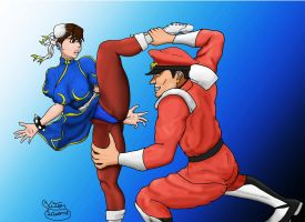 Chun-li Vs Bison by vitorleone13