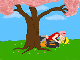 narusaku under the cherry blossom by titomatus555
