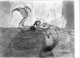 Mermaid and Dolphin by 6WingDragon