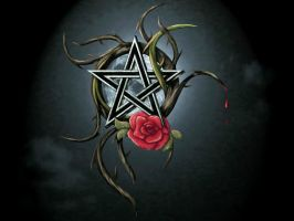 Pentagram and rose by chrome-dreaming