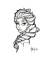 Elsa Lineart by BlueUndine