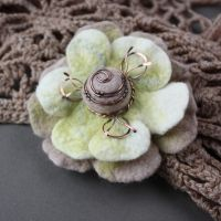 Felted brooch Vanilla by WhiteSquaw