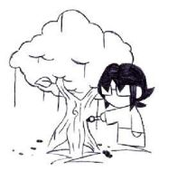 Moi Painting a Tree... by Iomma