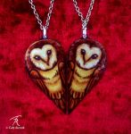 Owl Heart Necklaces by TrollGirl