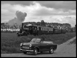 Trabant and Steamtrain by Blastoid