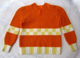 Crocheted Orange Cream Child's Sweater by Dragonrose36