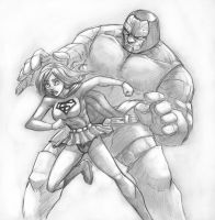 Darkseid Supergirl scetch by Flick-the-Thief