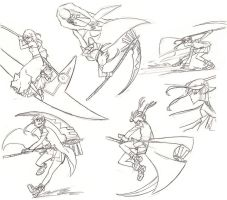 Maka in action/fight poses by Jazzie560