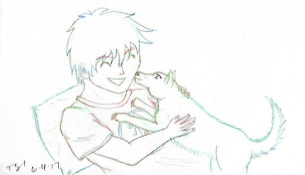 A Boy and His Dog (sketch) by Fullmetal-Heroine