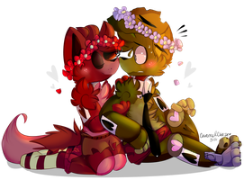 .A Smol fox and his Senpai. by CaramelCraze