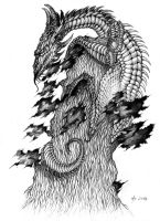 a Dragon on a Bonsai Tree by GhostOfMidwinter