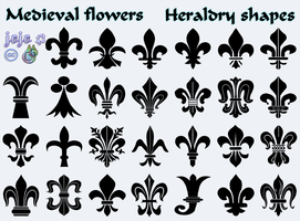 Medieval flowers Heraldry shapes by jojo-ojoj