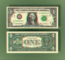 1 Dollar Anaglyph by Geosammy