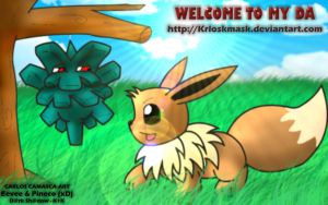 Eevee and Pineco xDD by KrlosKmask