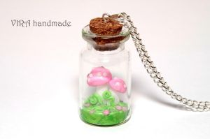 Pink mushrooms in a glass jar necklace by virahandmade