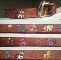 My Little Pony Handcarved Handpainted Leather Belt by FireflyFarm
