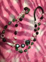 Facet Green Glass and Black Agate Necklace by CountryHippie