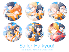 Sailor Haikyuu Buttons by toumin