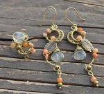 Citrine and aventurine antique brass earrigns and  by AN-designs