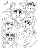 Sailor Moon and the others by B1o0dY-SaKuRa