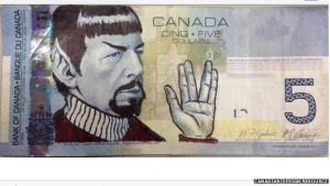 Spocking the Canadian 5 Dollar Bill by Godzilla713