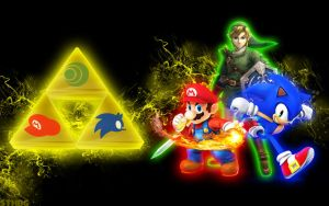 Link,Mario And Sonic - Wallpaper by SonicTheHedgehogBG